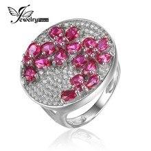 JewelryPalace Enorme Lujo Creado Red Ruby Cocktail 3.3ct Anillo Genuino 925 Plata Esterlina de La Manera Joyería Fina Para Las Mujeres