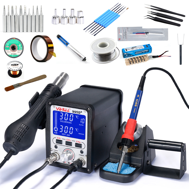 YIHUA 995D 995D SMD Large LCD Display Digital Soldering Station Lead Free Hot Air Gun SMD