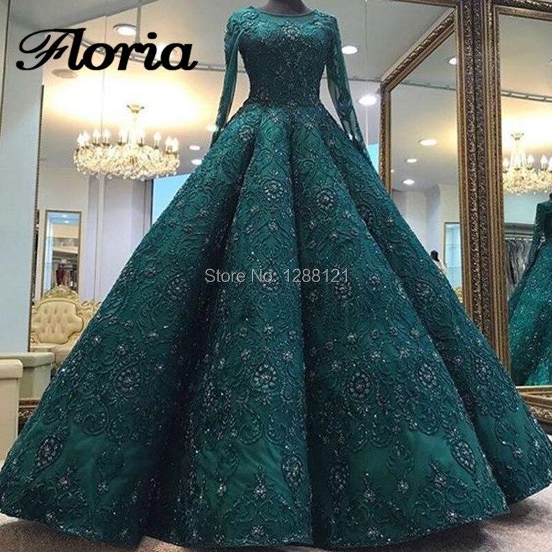 Sparkle Muslim Big Ball Gown Evening Dresses 2018 Turkish Arabic ...