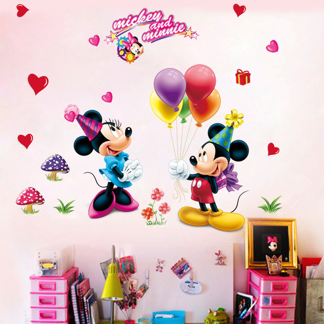 Cartoon DIY Mickey Minnie Mouse Balloon Wall Sticker Window Wallpaper For  Kids Room Baby Vinyl Mural