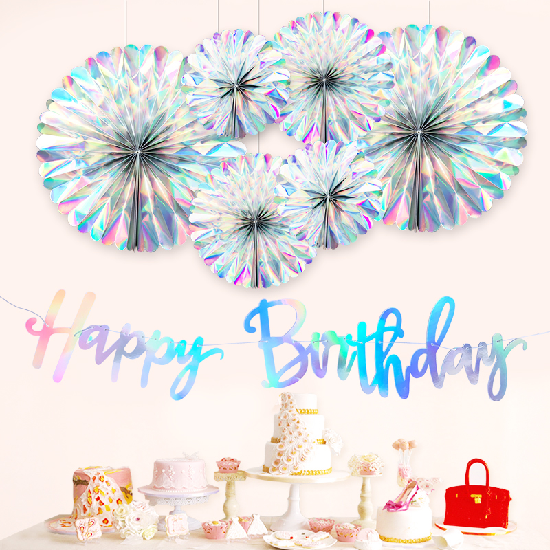 Iridescent Crafts Paper Fan Happy Birthday Banner Party DIY Flower Crafts Fan Decor Flag Baby Shower Home Decor Supplie Iridescent Crafts Paper Fan Happy Birthday Banner Party DIY Flower Crafts Fan Decor Flag Baby Shower Home Decor Supplie
