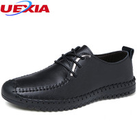 UEXIA Handmade Sewn Leather Shoes Casual Men Shoes Fashion Flats Exquisite Design Non Slip Comfortable Breathable