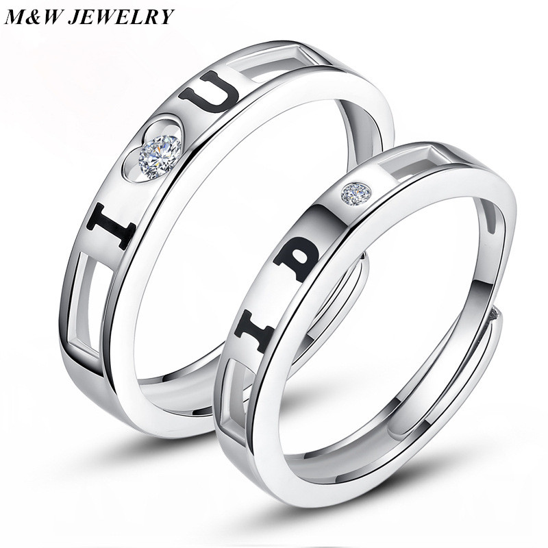 M&W JEWELRY 2016 hot sell love forever lettering 925 sterling silver lovers`wedding couple rings jewelry Free shipping Jewelry
