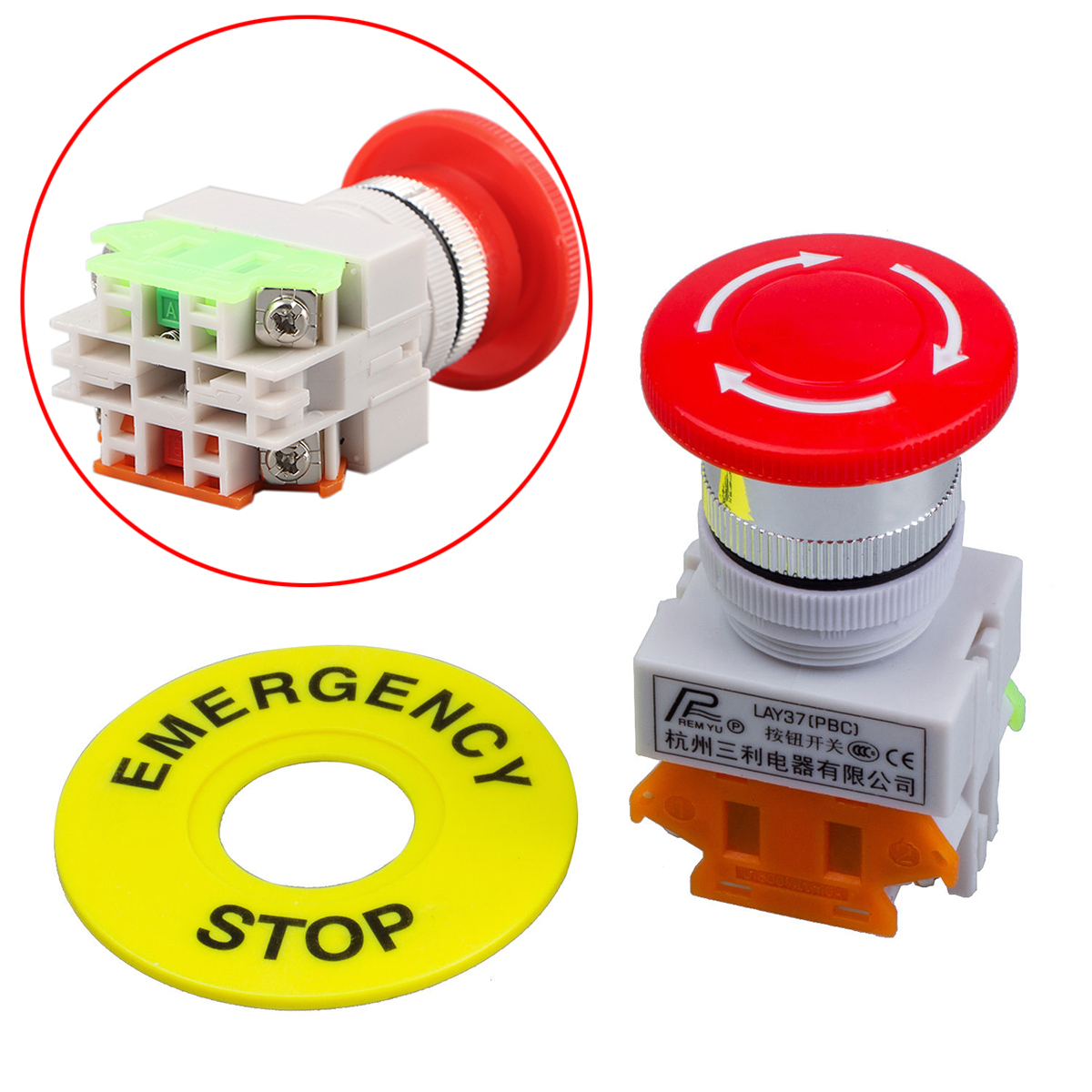 New Red Mushroom Cap Emergency Stop Switch 1NO 1NC DPST Push Button Switch AC 660V 10A стоимость