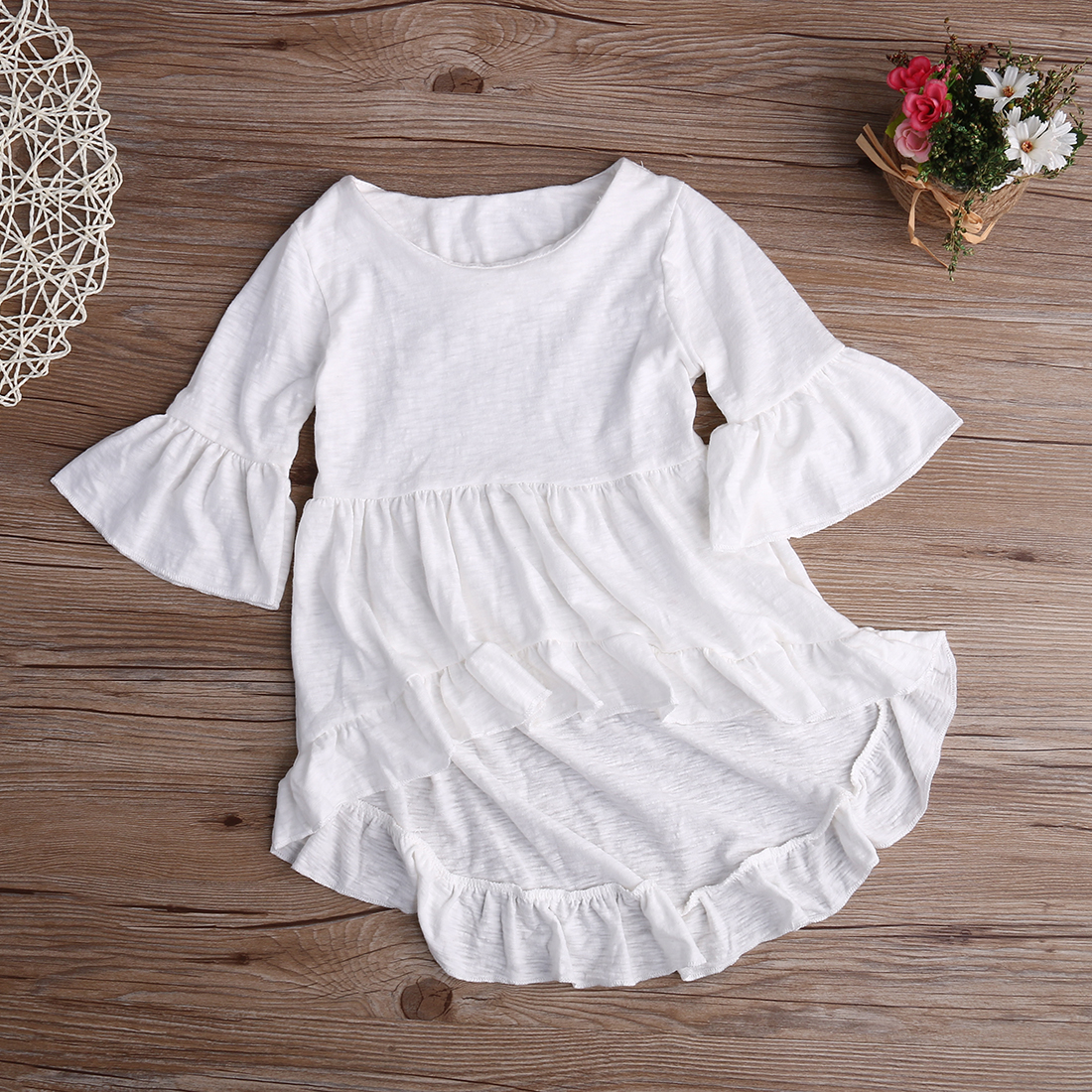 White Baby Girls Dress Frills Flare Sleeve Top T-Shirt Party Ruffles Hem Dresses 1-6Y contrast striped petal sleeve dip hem shirt