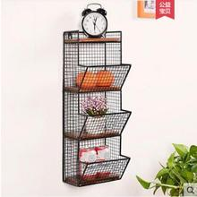 Wrought iron wall frame shelf retro solid wood
