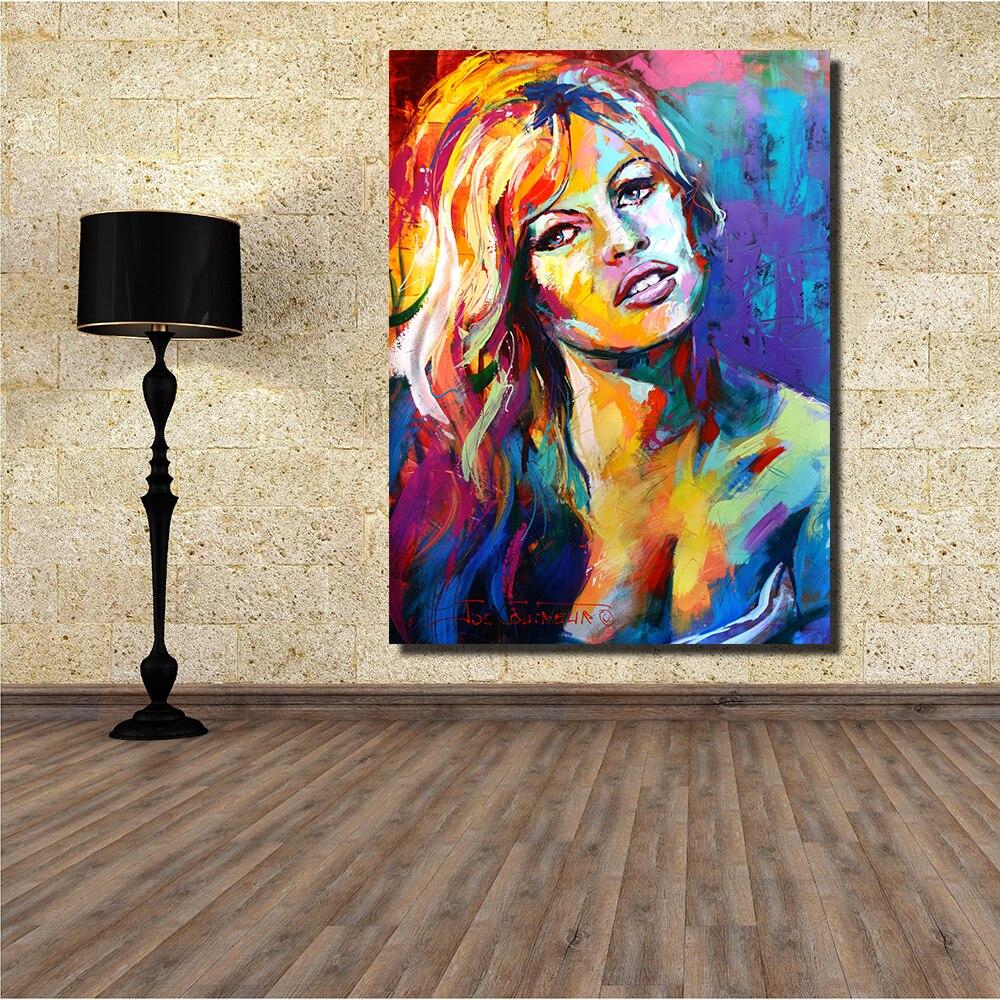 JQHYART Brigitte Bardot Ölgemälde Leinwand Kunst Home Decor ...
