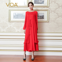 VOA 2017 Fall Fashion Red Fake Two Piece Set Silk Jacquard Women Maxi Long Dresses Plus Size Loose Casual Robe Dress A7170