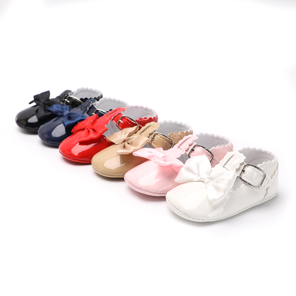 Cute Bow Baby Shoes Girls Sequin PU Leather Baby Moccasins Prewalkers Princess Ballet Shoes 0-18 Months