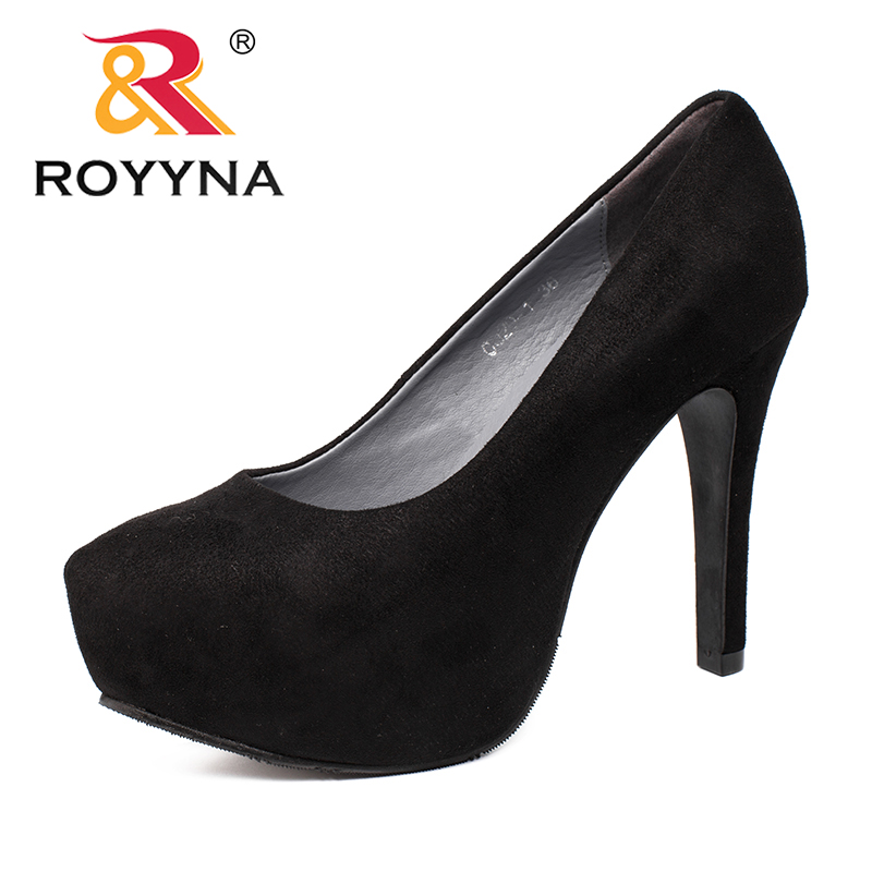 ROYYNA 2017 Autumn  New Arrival Popular Style Women Pumps High Heels Stiletto Pointed Toe  Platform Women Shoes Zapatos Mujer 2017 women strange autumn brown abnormal evening pointed toe blue catwalk high heels pumps size 4 34 stiletto medium fashion new