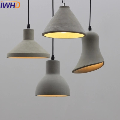 IWHD LED Hanglamp Modern Cement Hanging Lights Fashion Edison Bulb Pendant Light Fixtures Kitchen Dining Luminaire Lamparas iwhd glass led pendant lights modern brief wood hanging lamp edison bulb light fixtures suspension luminaire home lighting