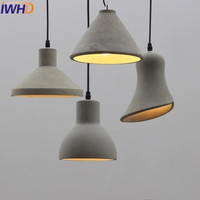 IWHD LED Hanglamp Modern Cement Hanging Lights Fashion Edison Bulb Pendant Light Fixtures Kitchen Dining Luminaire Lamparas