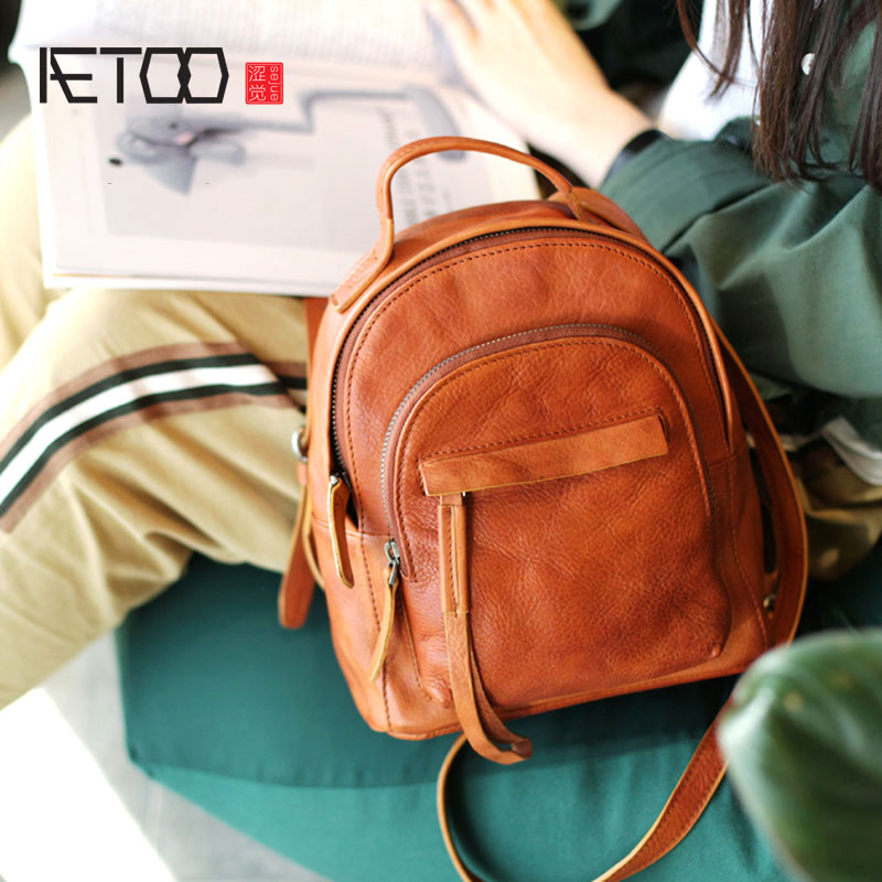 AETOO Retro Backpack Small Fresh Women s Bag New Wild Leisure College Wind Soft Leather Small