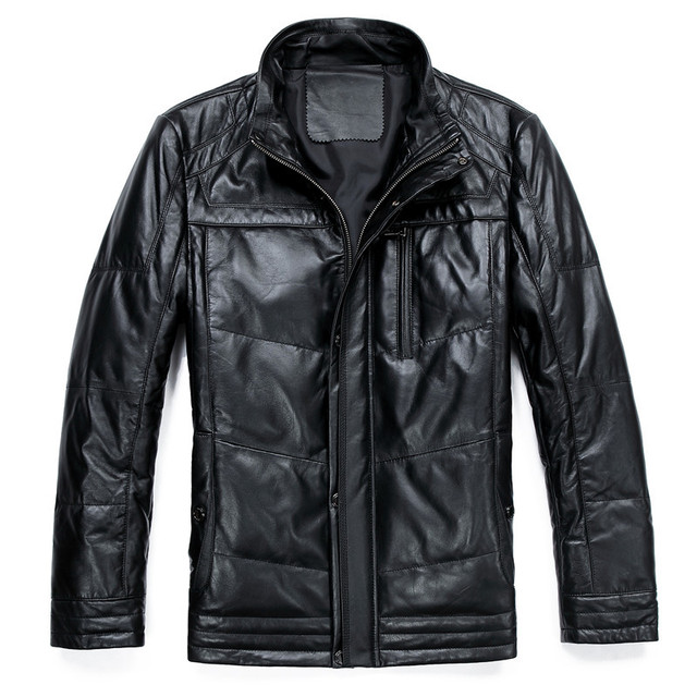 Jackets new fashion 2013 100% genuine leather men's clothing men jackets autumn and winter mens down winter parka l us 4XL HN004