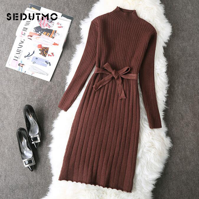 e99f64e967c SEDUTMO Winter Sexy Tunic Sweater Dress Women Knitting Long Sleeve Dresses  Turtleneck Warm Autumn Fashion Party Dress ED442