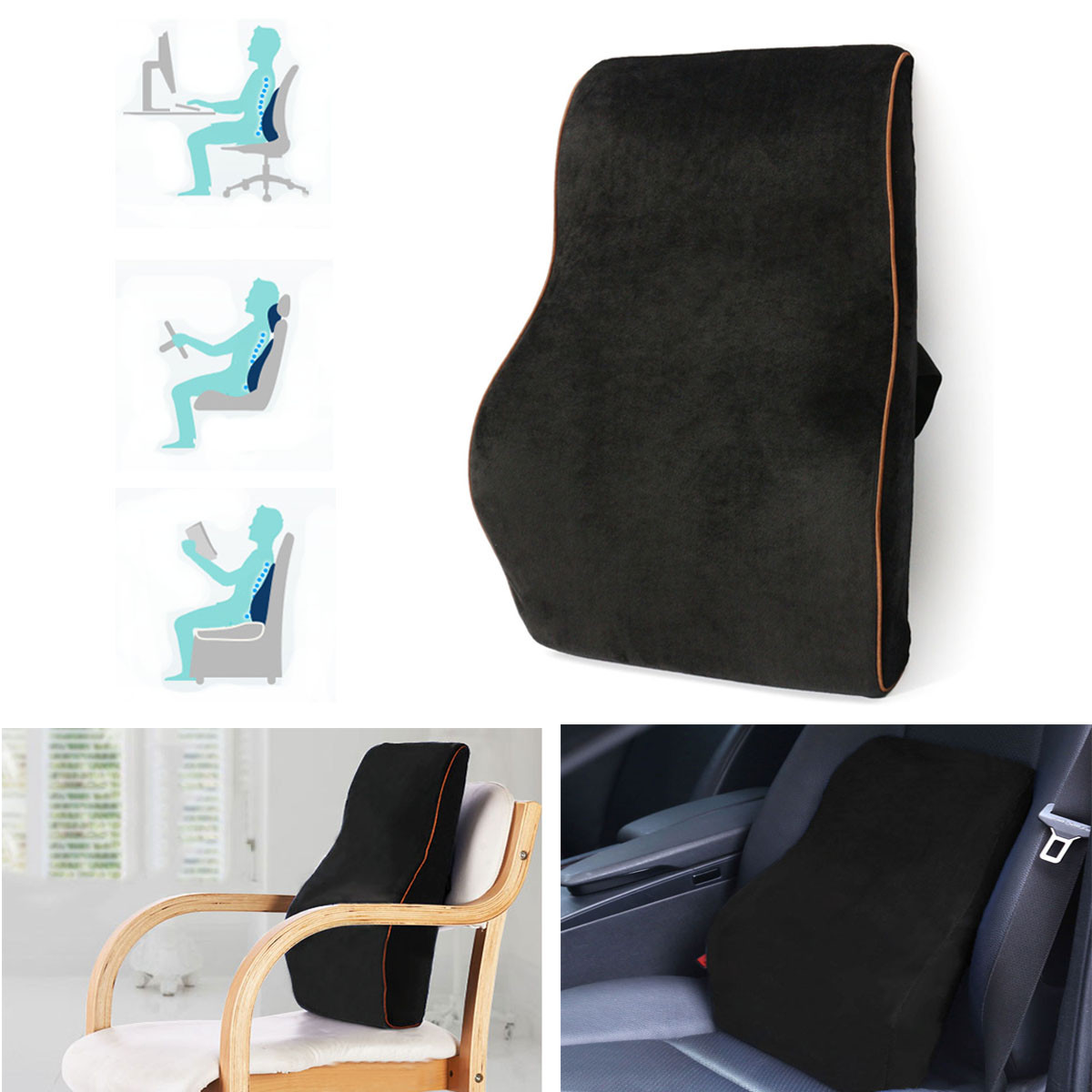 Car memory foam lumbar back support pillow cushion home office car auto seat supports chair pillow