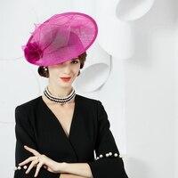 British Style Rose Ladies Formal Fedora Women Summer Flower Fascinators Sinamay Church Hats Linen Derby Church Pillbox Hat B8178
