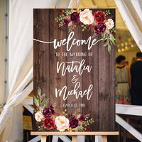 Floral Welcome Wedding Sign Rustic Personalized Welcome Wedding Sign Welcome To Our Wedding Sign Burgundy Flowers Wooden Sign