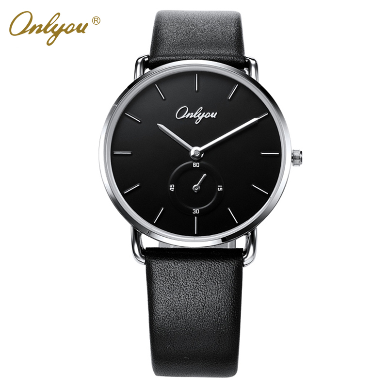 Onlyou Leather Watch For Men Quartz-Analog Wristwatches Big Dial Black Business Men Watch 81087 classic big rectangular rome dial silver dial black brown leather dress quartz watch wristwatches gift for men women male