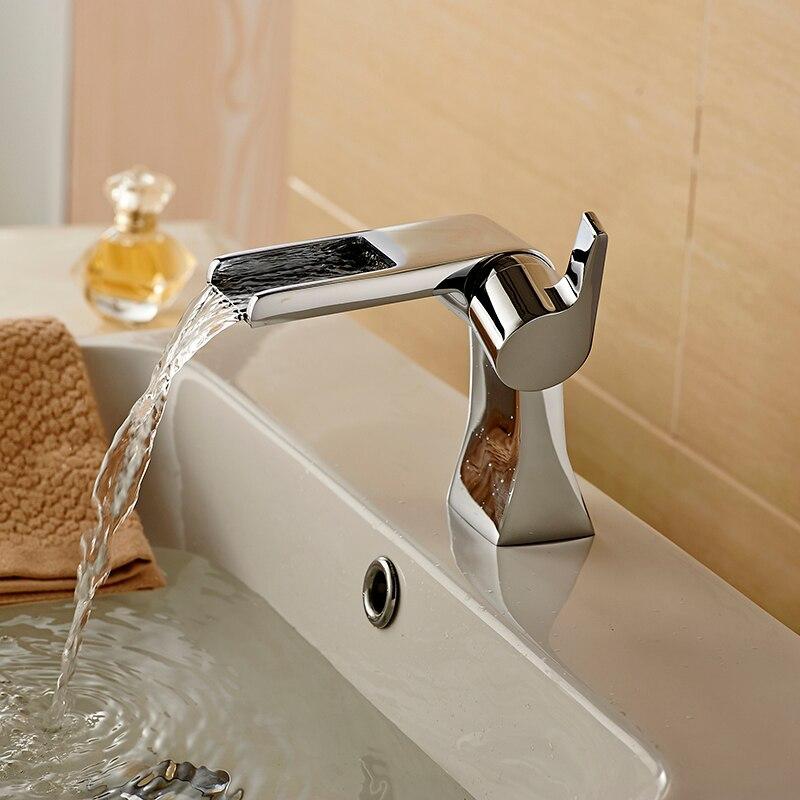 Robinets de lavabo uniques robinet de cascade moderne robinet mitigeur de salle de bain en laiton chromé chaud et froid poignée Unique