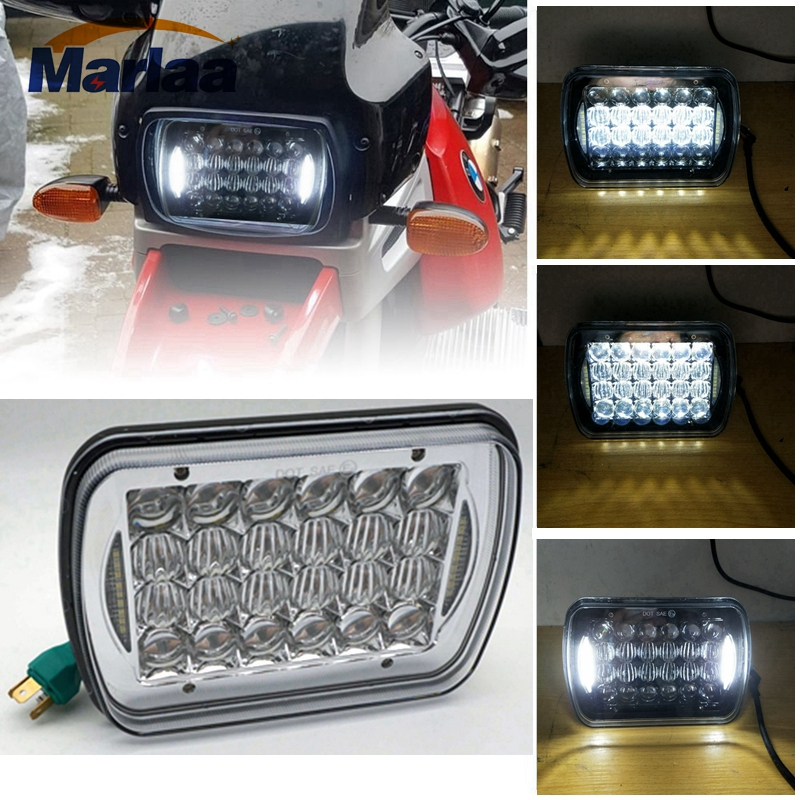 1pcs 5''x7'' 7''x'6'' Projector Led Headlights with DRL for Jeep-Wrangler YJ Cherokee XJ H6054 H5054 H6054LL 69822 6052 6053 5 x7 6 x7 high low beam led headlights for jeep wrangler yj cherokee xj h6054 h5054 h6054ll 69822 6052 6053 with angel eye