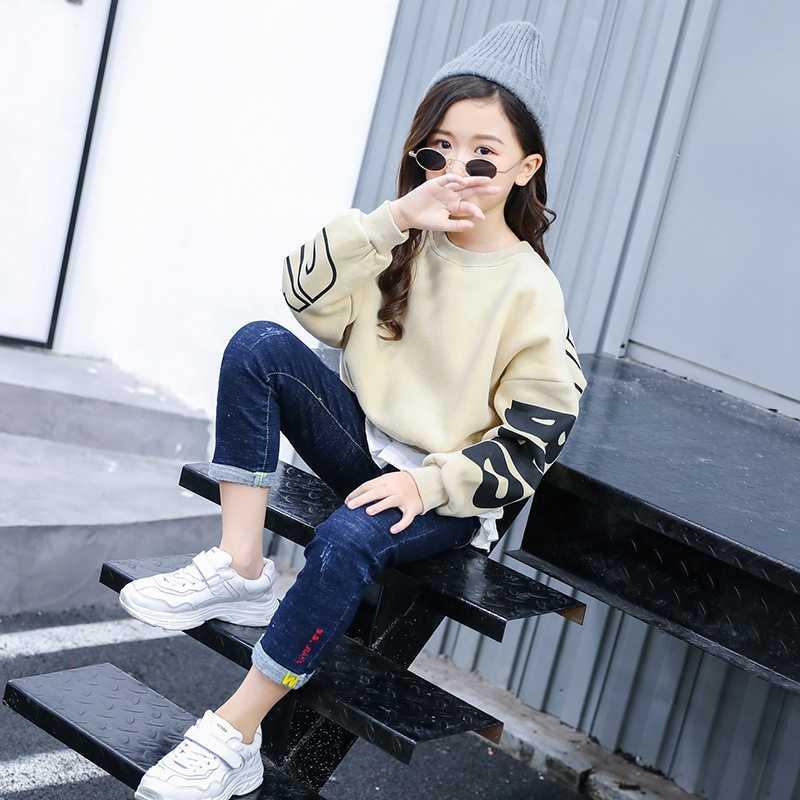 Зимние Детские свитера толстый свитер для девочек осенний пуловер с имитацией букв из двух предметов модная одежда для девочек 8, 10, 12, 14 лет