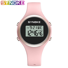SYNOKE Women Sport Watch Pink Silicone Digital Candy Color Alarm Chronograph Multifunction Fashion Gril Wristwatch