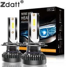 Zdatt Мини безвентиляторный H7 светодио дный 8000LM автомобилей свет фар лампа H1 светодио дный H8 H9 H11 9005 HB3 9006 HB4 6000 К 12 В 24 В светодио дный лампы автомобилей