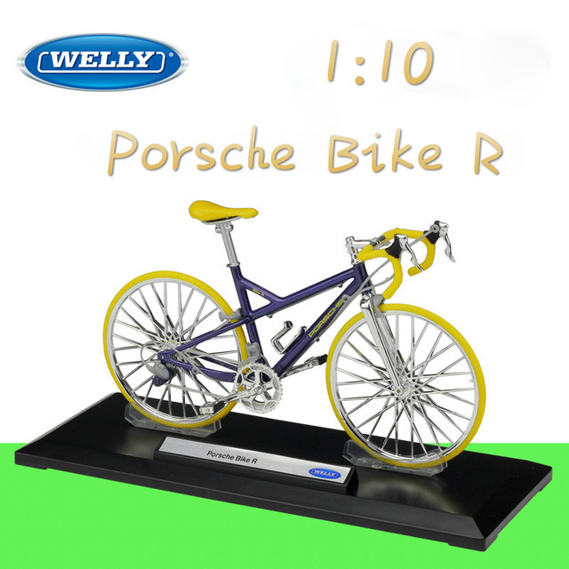 WELLY 1:10 Metal Classic Model Cycling Porsch/BMWAudi Road Bike Diecast Toy Road/Mountain Bike Alloy Bicycle Gifts Collection