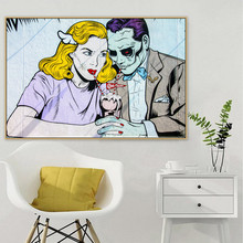 Pop Art Couple Graffiti Street Mural Banksy Canvas Painting Posters and Prints POP Wall Pictures for Living Room Home Decor
