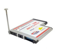 Laptop 54mm Type II Express Card to Wireless N WIFI Antenna Ethernet Network Card + USB 3.0 Socket Adapter Expansion Card