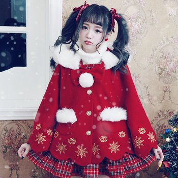 Princess sweet lolita student sweater BOBON21 Christmas snowflake embroidered wool coat C1439