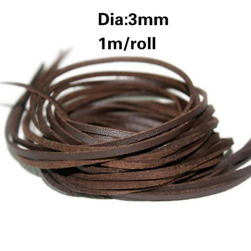 Venda quente 3mm largura 1 m/lote plana camurça do falso coreano veludo corda cordão de couro veludo para vestuário/saco diy trançado ofício