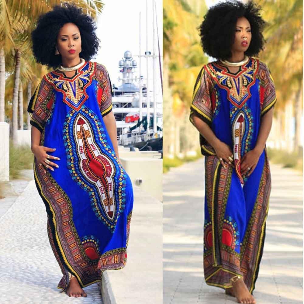 70c2b20b689b african dresses for women 2019 Fashion sexy African Print Dress Kaftan lady  casual dress women summer long maxi dress vestidos-in Dresses from Women s  ...
