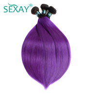 Sexay Pre Colored Purple Straight Hair Weave Dark Roots T1B Purple Malaysian Straight Hair Bundle Factory