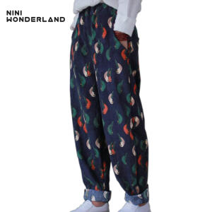 NINI WONDERLAND corduroy casual loose Harem pants female