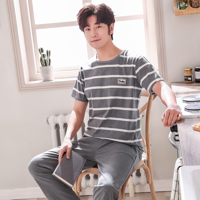Puls Size L-4XL Cotton Pajama Sets For Men Summer Short Sleeve Pajamas Striped Pyjama Male Long Pants Homewear Pijamas Hombre