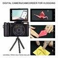 "24MP Compact Câmera Digital 4X Zoom Digital de 3 ""Tela rotativa Semi Pro Photo Video Recorder Camcorder 52mm Lente Parafuso Adaptador"