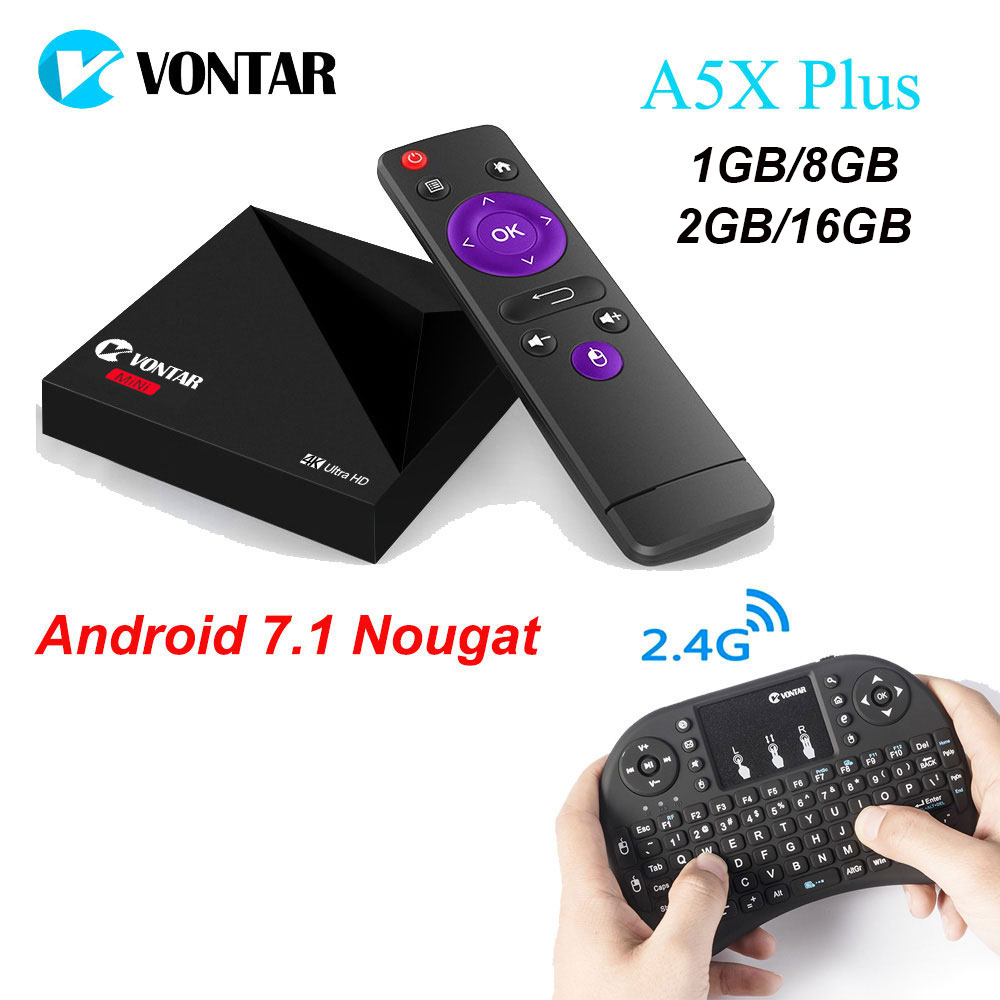 A5X Plus RK3328 Rockchip Android 7.1 TV BOX 1 GB 8 GB 2 GB 16 GB 2.4G WIFI 100 M LAN USB3.0 4 K H.265 pk km8 pro Z28 TV Media Player