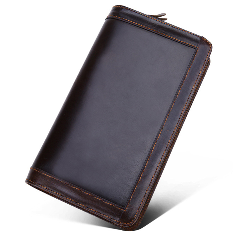 Men Wallet Cowhide Genuine Leather Purse Money Clutch Card Holder Coin Wristlet Long Photo Double Zip Dollar Price 2017 Wallets men genuine leather wallet 2016 dollar price luxury famous designer high quality money clip men wallet