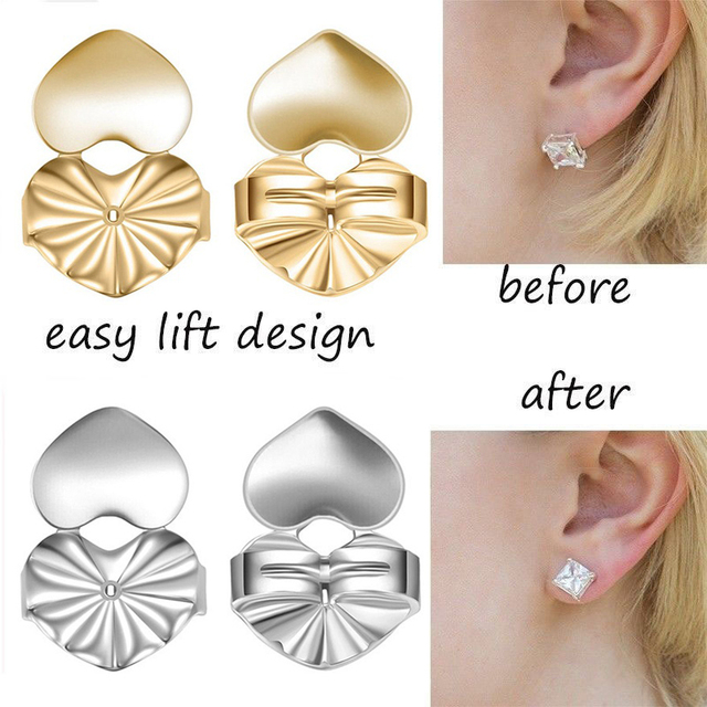 Hot Magic Earring Backs Support Lifts Fits All Post Earrings Set Gold Color Silver