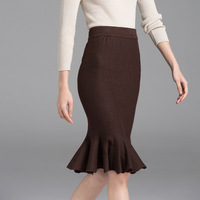 Autumn Winter Casual Long Skirt Women Coffee Elasticity High Waist Mermaid Femme Formal Long Sweater Skirts