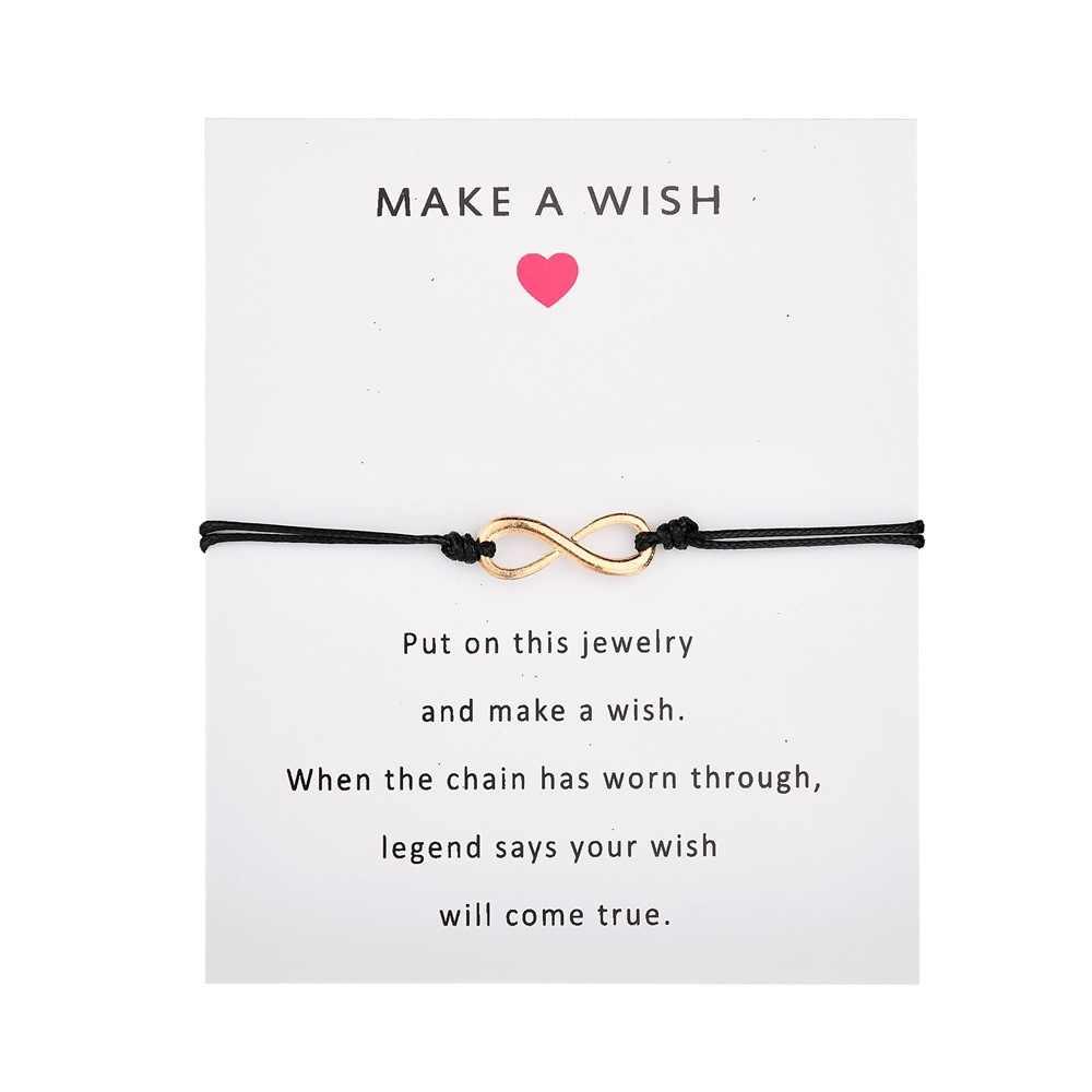 Charmsmic Adjustable Infinite Eight Charm Bracelets for Women Make a Wish Wax Rope Bracelets Kids Children Girl Jewelry Gift