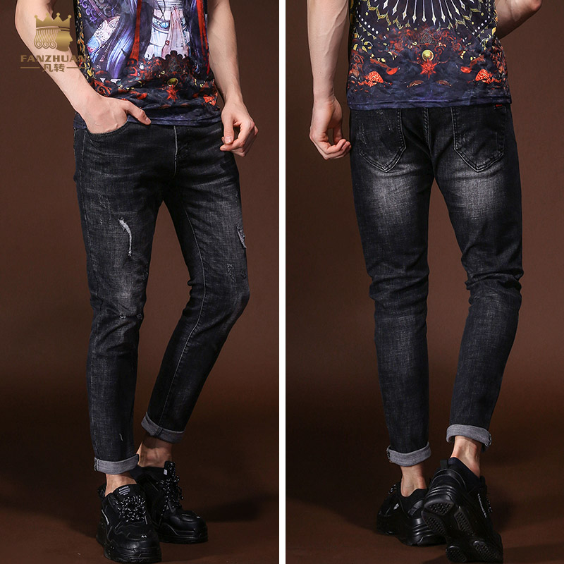 fanzhuan Free Shipping New fashion Male mens man casual 2018 summer tide washed denim skinny pants thin jeans trousers 828054