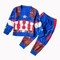 Nuevo Capitán América Conjuntos Muchachos de la Ropa de Primavera Ropa de Bebé de Algodón juego Para Niños Cabritos del Juego de Batman Camisetas Pantalones 2 Unidades ropa