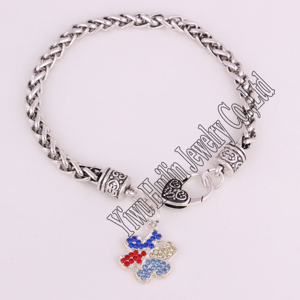 Rhodium Plated With Sparkling Crystals Autism Awareness Puzzle Piece Charm Bracelet Link Chain In Bracelets From Jewelry Accessories On