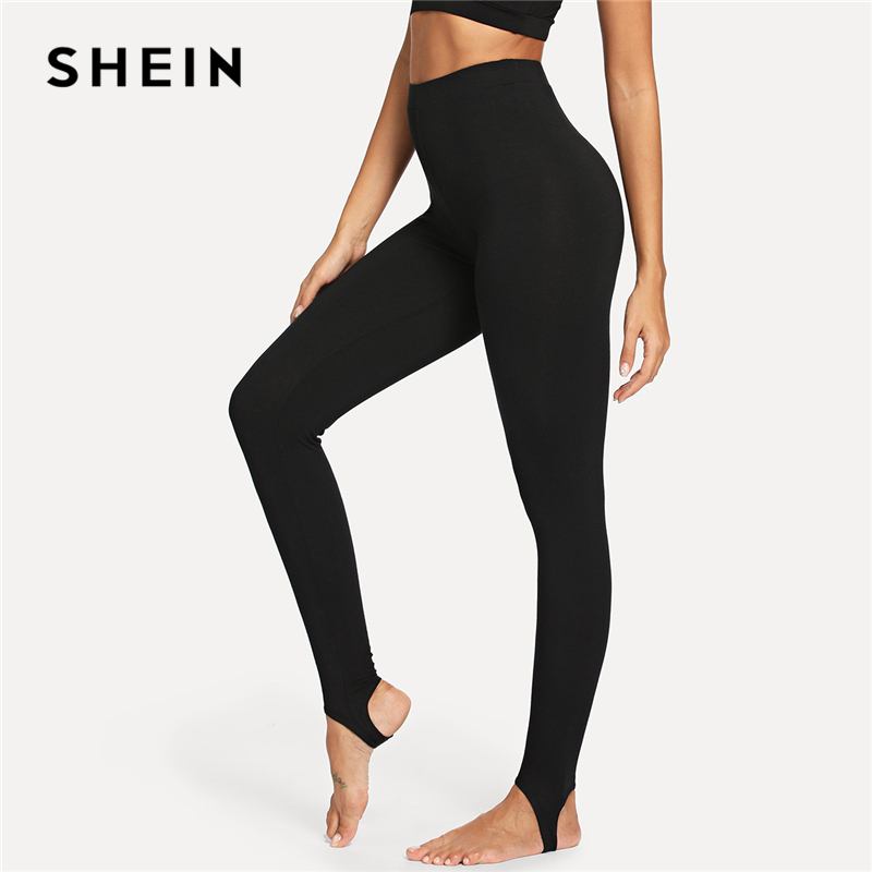 SHEIN Black Casual High Rise Stirrup Solid Long Skinny Leggings 2018 Autumn Cool Women Pants Trousers