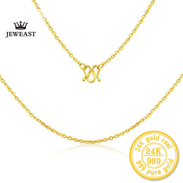 ZZZ 24k Pure Gold Necklaces Rope Chain Simple Fashion Women  Jewelry Exquisite Dignified Minimal Simplify Solid Gold Necklace
