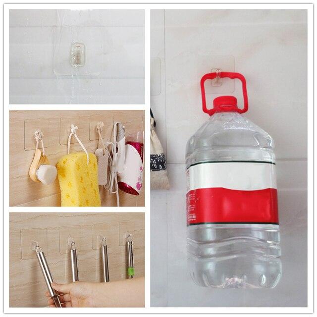 6 pz Trasparente Adesivo Forte Gancio A Muro Per Appendere Cucina Impermeabile G