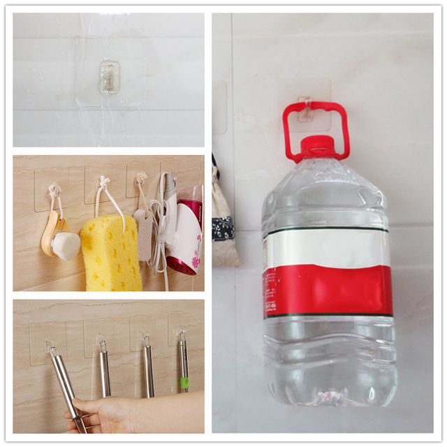 6pcs transparent adhesive strong wall hook for hanging kitchen waterproof hooks bathroom accessories set